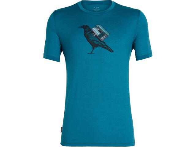 Icebreaker Tech Lite Ravencamp SS Crewe Shirt Herr poseidon